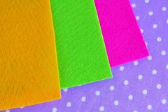 Colorful sheets of felt on purple background. Felt sheets. Felt set. Felt kit. Fel sheets set Stock Photos