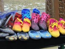 Felt shoes Stock Photography
