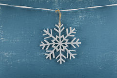 Felt Snowflake Ornament Centered on Ribbon Royalty Free Stock Photos