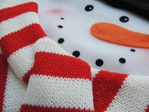 Felt snowman with knitted scarf for Christmas holidays. Felt snowman with knitted scarf for Christmas and New Year holidays Stock Image