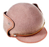 Felt soft hat ushanka with cap peak stock image