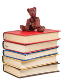 Felt soft toy bear sits on books. Felt soft toy bear sits on stack of books isolated on white background Royalty Free Stock Images