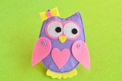 Felt soft toy owl Stock Photo