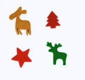 Felt stencil of christmas symbols. On white vector illustration