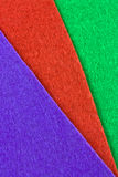Felt texture. A closeup of three colored craft felts Royalty Free Stock Images