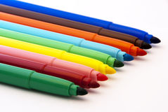 Felt-tip. Colorful felt-tip pens in line Stock Photography