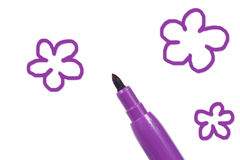 Felt-tip and flowers royalty free stock photo