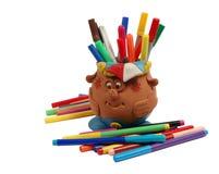 Felt-tip pen. Multi-coloured felt-tip pens in a decorative support stock image