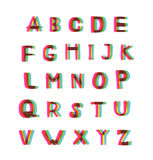 Felt-tip pen Alphabet set. Big letters pack with popular stereo effect royalty free illustration