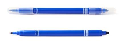 Felt-tip pen marker isolated. Felt-tip blue pen marker isolated over the white background Royalty Free Stock Photography