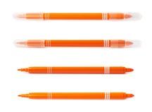 Felt-tip pen marker isolated. Felt-tip orange pen marker isolated over the white background Stock Photo