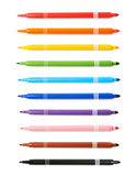 Felt-tip pen marker isolated. Over the white background, set of ten different colors royalty free stock photography