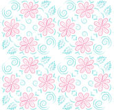 Felt-tip pen outline flower pattern Royalty Free Stock Photography