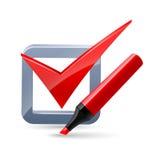 Felt-tip pen and tick mark icon Stock Photos