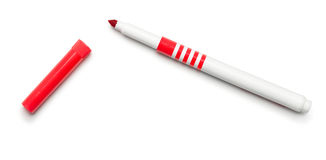 Felt Tip Pen on White. Red Felt Tip Pen on White royalty free stock photo