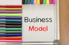Felt-tip pen and whiteboard and business model text concept. Felt-tip pen and whiteboard on a wooden background and text concept Royalty Free Stock Photos