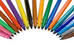 Felt tip pens. Isolated on white Stock Photos