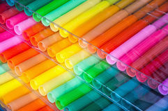 Felt-tip pens. Panels of colour felt-tip pens laid by a fan royalty free stock photo