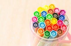 Felt-tip pens in a box. Close up Felt-tip pens in a basket stock images