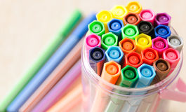 Felt-tip pens in a box. Close up Felt-tip pens in a basket royalty free stock photo