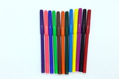 Felt-tip pens. The colored felt-tip pens on the white stock photography