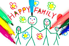 Felt tip pens and  drawing of  family Royalty Free Stock Images