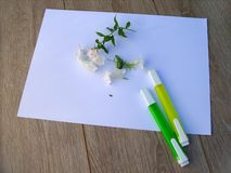 Felt-tip pens with flowers royalty free stock image