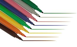 Felt tip pens with lines - isolated Stock Images