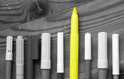 Felt-tip pens with one standing out of crowd Stock Photos