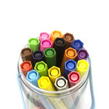 Felt-tip pens in a plastic box.  Royalty Free Stock Photo