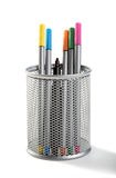 Felt-tip pens in a support of silver colour Stock Photos