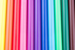 Felt-tip pens of various color. In line royalty free stock images