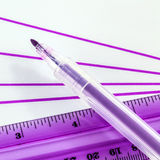 Felt-tip and ruler Stock Photography