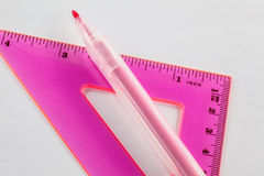 Felt-tip and ruler Royalty Free Stock Photos