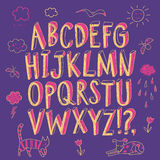 Felt-tip style childish font and drawings. Hand drawn decorative sketchy vector ABC letters and doodle drawings. Felt-tip style. Nice childish font for your Stock Images