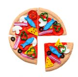 Felt pizza. Felt food toys for the kids Royalty Free Stock Images