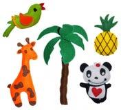 Felt toys. 5 Felt toys - ananas giraffe palm panda parrot pineapple royalty free stock photography