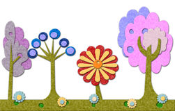 Felt trees and flowers background Royalty Free Stock Photography