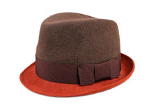 Felt trilby/fedora hat isolated on a white Royalty Free Stock Image