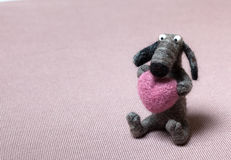 Felted Dog in Love Royalty Free Stock Photo