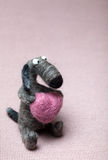 Felted Dog in Love Royalty Free Stock Photography