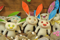 Felted hares. Funny handmade felted hares together Royalty Free Stock Photo