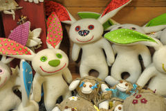 Felted hares. Funny handmade felted hares together Stock Photography