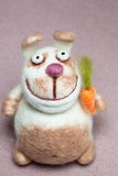 Felted Rabbit with Carrot Royalty Free Stock Photos