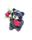 Felted raccoon with heart Stock Photos