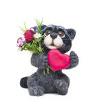 Felted raccoon with heart Stock Image