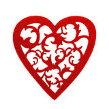 Felted red heart with floral ornament Royalty Free Stock Photo