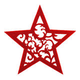Felted red star with floral ornament Royalty Free Stock Images