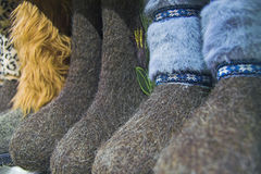 Felted shoes Stock Images