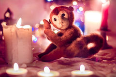 Felted toy monkey Royalty Free Stock Images